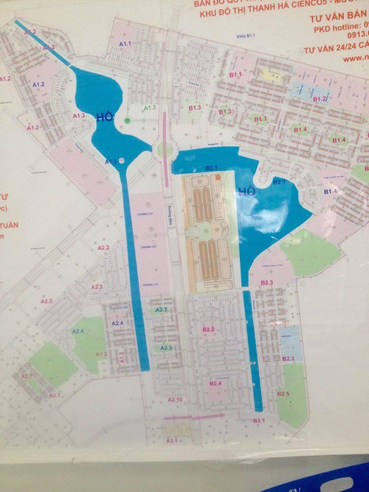 Bản đồ quy hoạch tổng mặt bằng sử dụng đất khu đô thị Thanh Hà - Mường Thanh Cienco 5