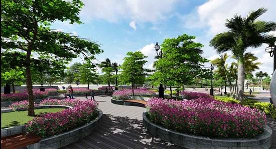 Vườn hoa trung tâm khu chung cư B1.3 HH03 Thanh Hà - Mường Thanh